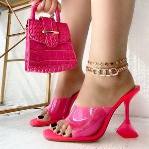 Hot Pink PVC Triangle Heel